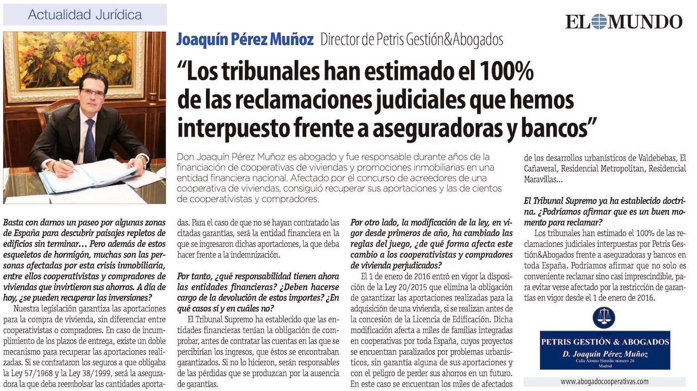 Entrevista a Joaquín Pérez Muñoz en El Mundo 13-07-2016
